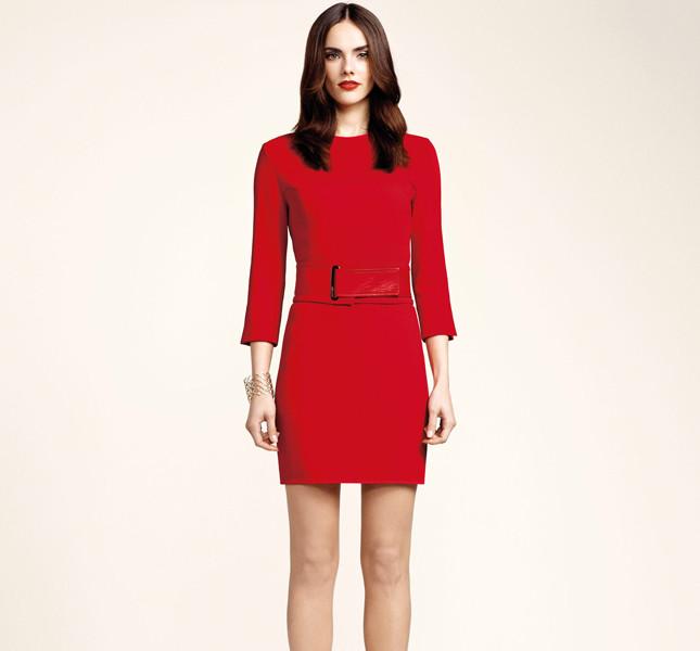 Elisabetta Franchi abito rosso con cintura in vita