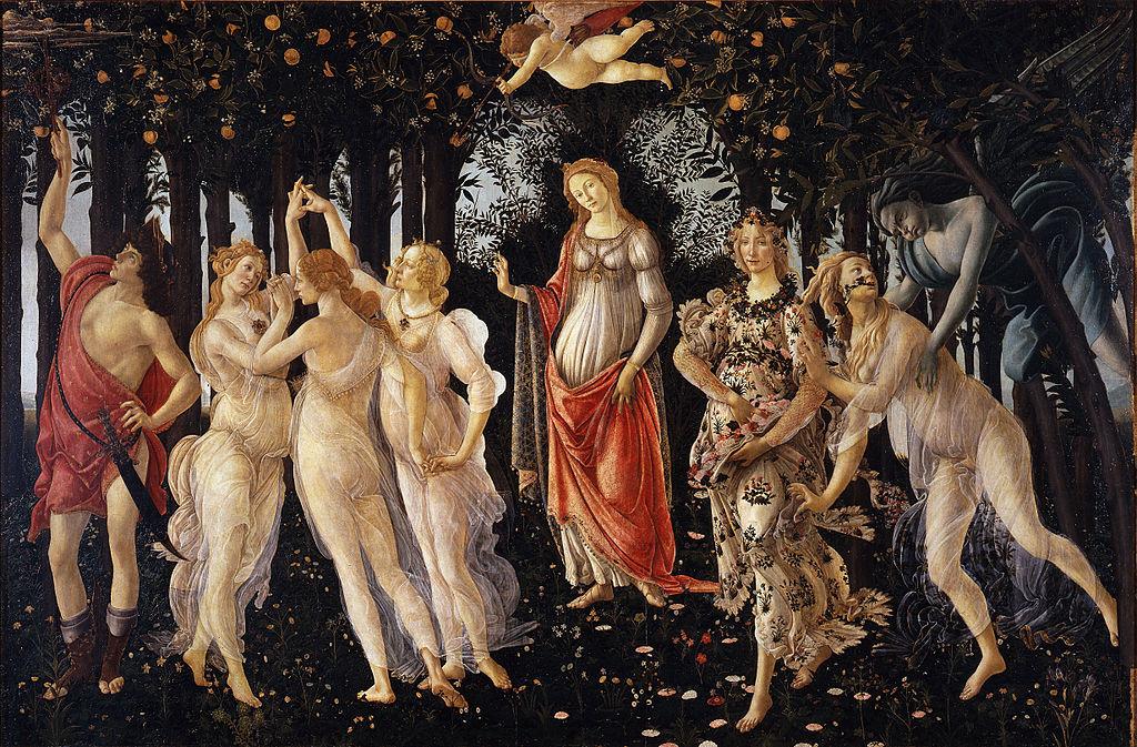 Tutti i personaggi femminili della Primavera di Botticelli hanno capelli con morbide onde
