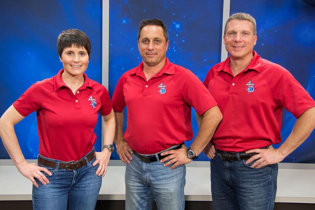 L'equipaggio della missione 42 sull'ISS: Samantha Cristoforetti, il russo Anton Shkaplerov e l'americano Terry Virts.