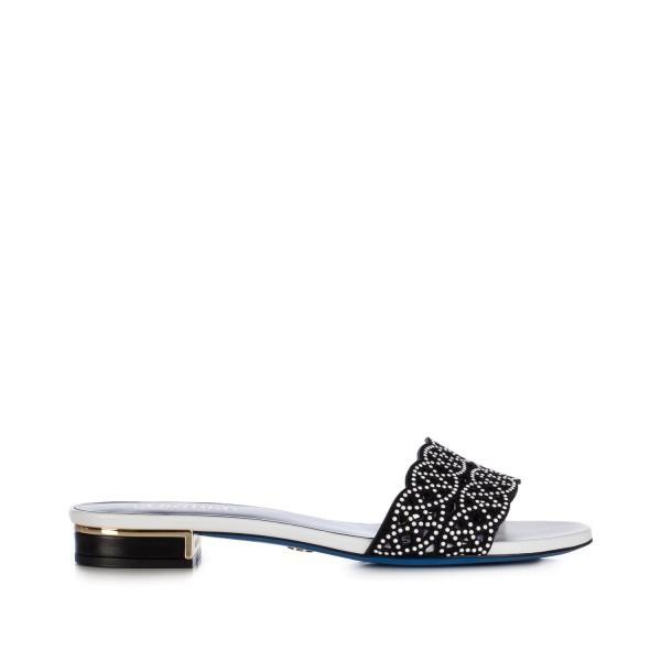 Loriblu - ciabattina con nappa bianca e camoscio nero - 335,00 €