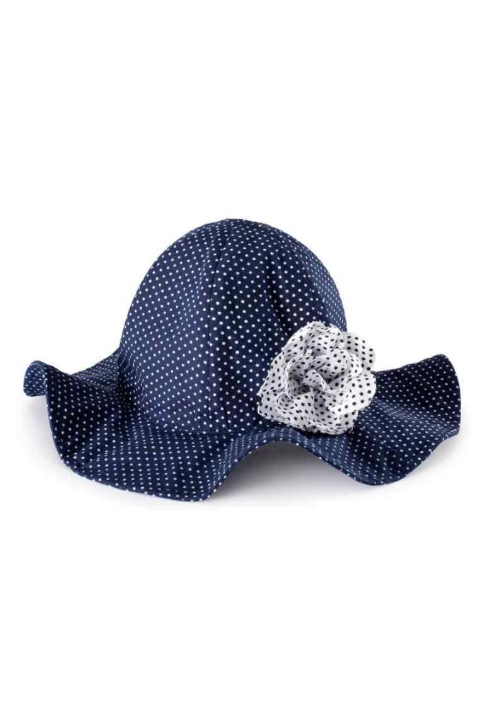 Collezione H&M Cappello per il sole a pois bianche e sfondo blu
