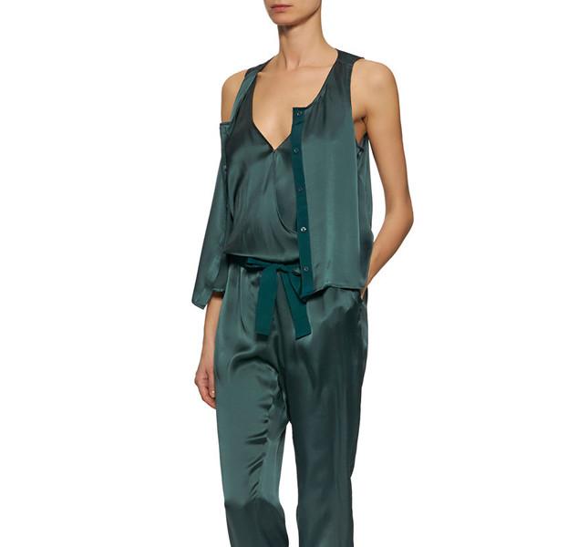 Pennyblack jumpsuit in raso di seta, senza maniche, scollo a V