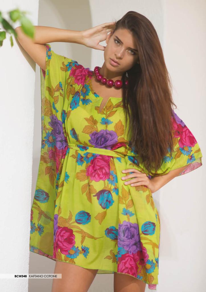 Kaftano con stampa floreale e cintura in vita_Milk and Honey