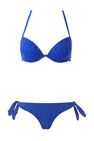 Tezenis, bikini us up traforato nella nuance blu portagallo