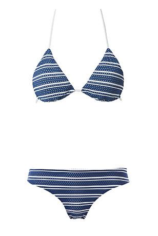 Tezenis, bikini nella versione triangolo imbottito fantasia marinara 'fancy blue-white'