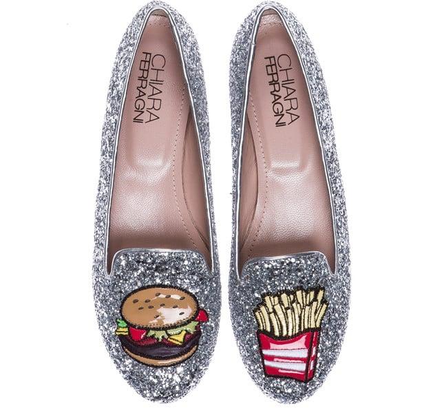 Chiara Ferragni slippers hamburger e patatine fritte