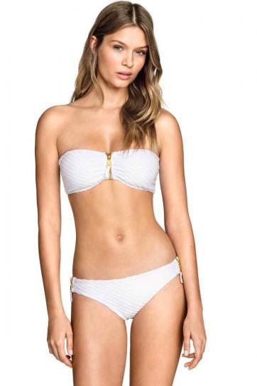 H&M, bikini total white a fascia con dettaglio zip sul davanti