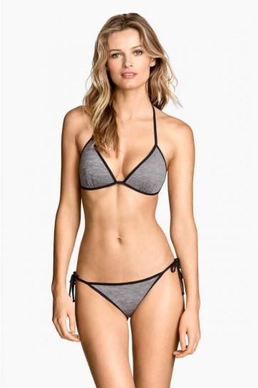 H&M, bikini grigio e nero con reggiseno push up