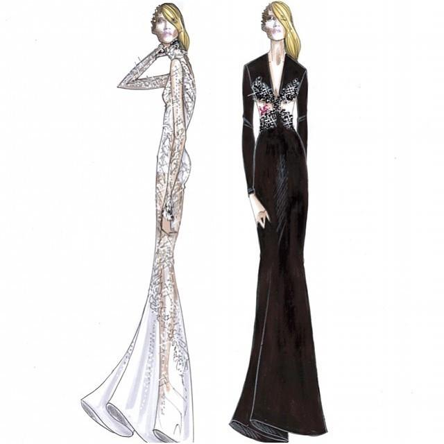 Abbozzi di alcuni abiti di Emma per il Festival di Sanremo