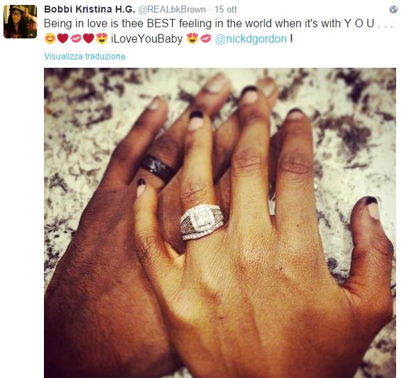 Un tweet dedicato al fidanzato, in cui Kristina manifestava tutto il suo amore per Nick