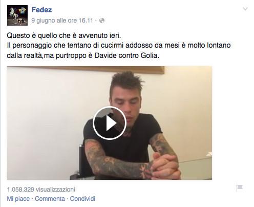 Il post pubblicato su Facebook, con il video di spiegazione dell'accaduto