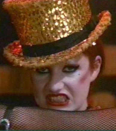 Occhi bistrati e rossetto rosso per Columbia in The  Rocky Horror Picture Show