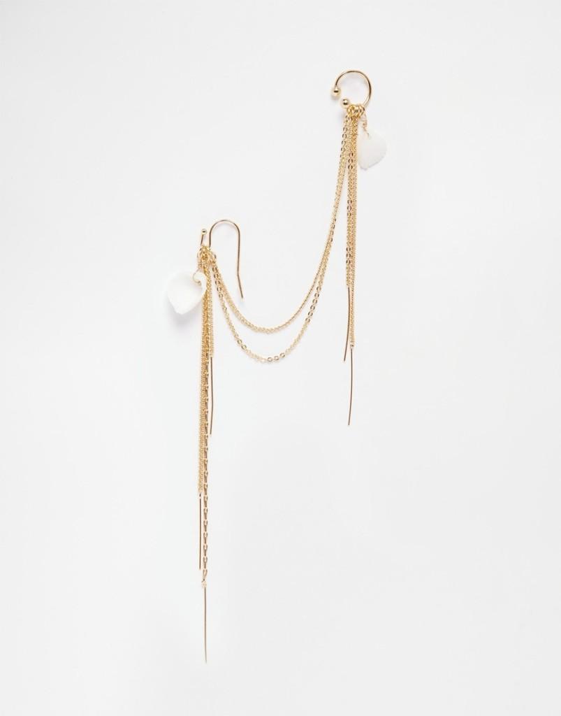 Ear cuff con catena drappeggiata e conchiglie 11,99 euro su Asos