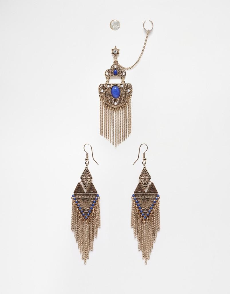 Ear cuff in confezione multipack abbinati con pietre e pendenti in stile etnico 7,99 euro su Asos
