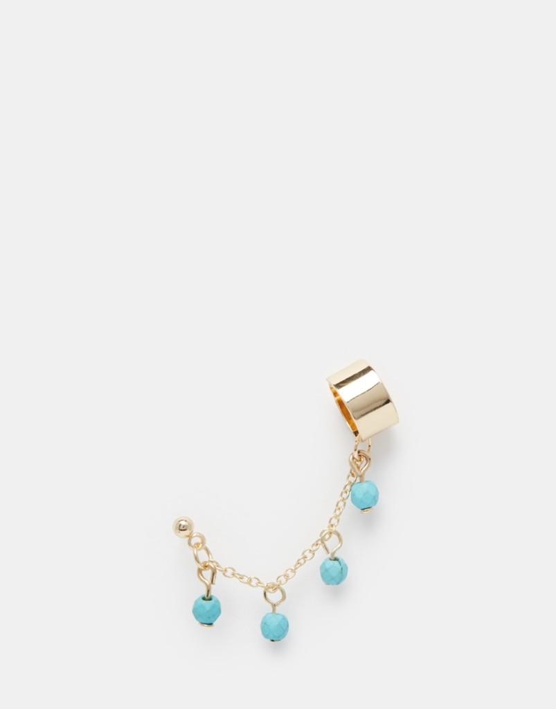Ear cuff con perline turchesi pendenti 3,99 euro su Asos