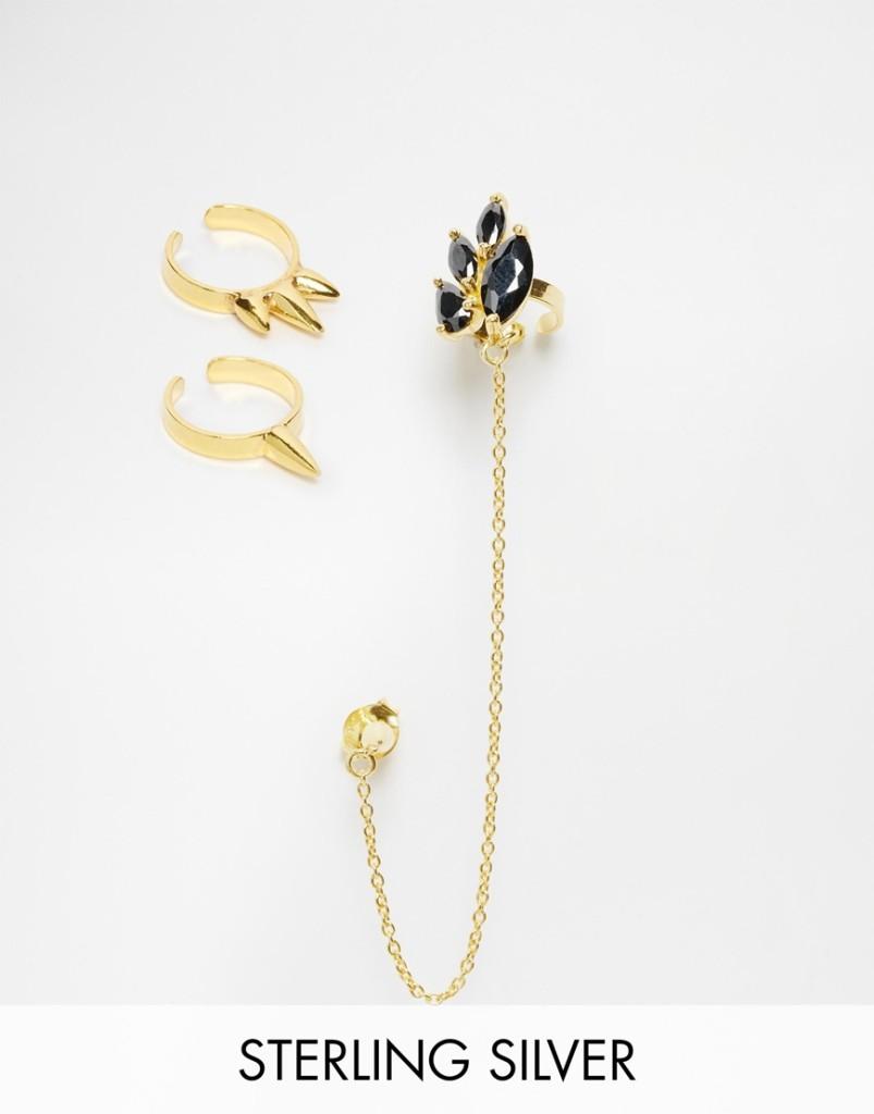 Set ear cuff singoli e con catena da abbinare in sterling placcato oro 30,99 euro su Asos