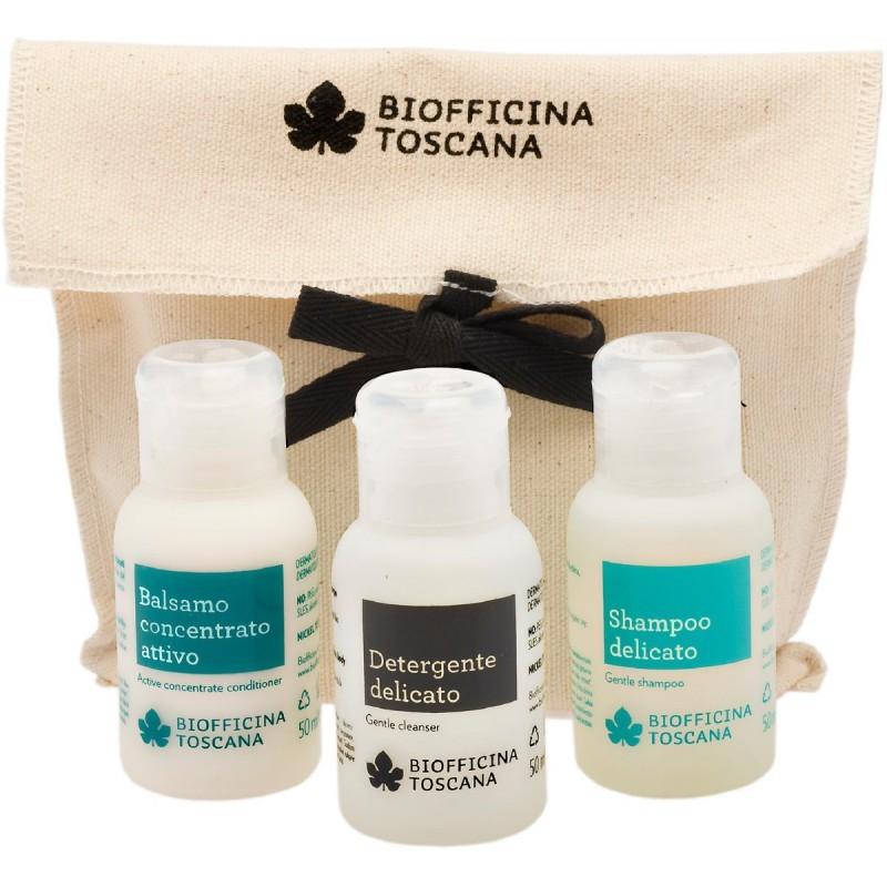 Biofficina Toscana set Balsamo Concentrato attivo, Shampoo Delicato e il Detergente Delicato