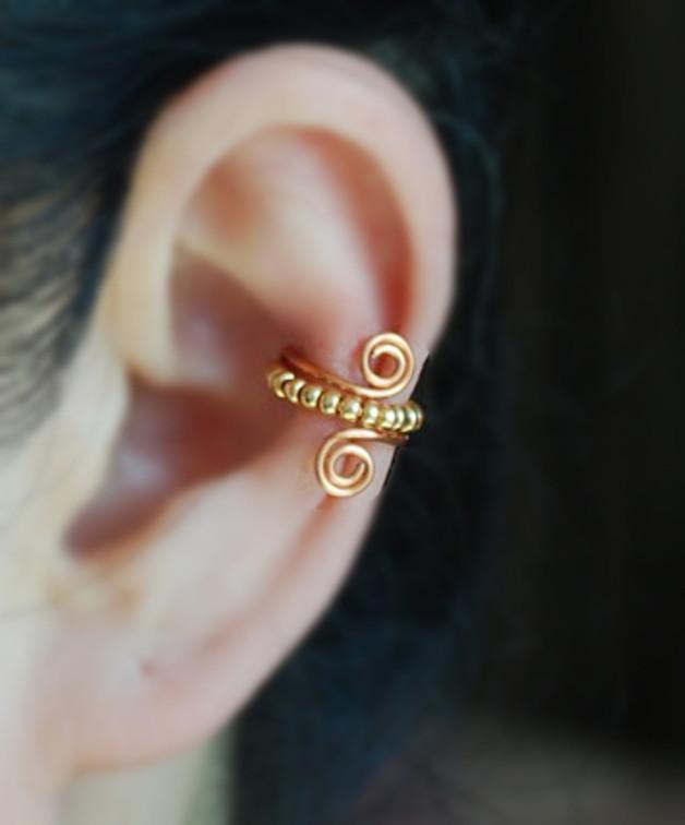 Ear cuff in rame con perline di TakeOnMe7 3,19 euro su Dawanda