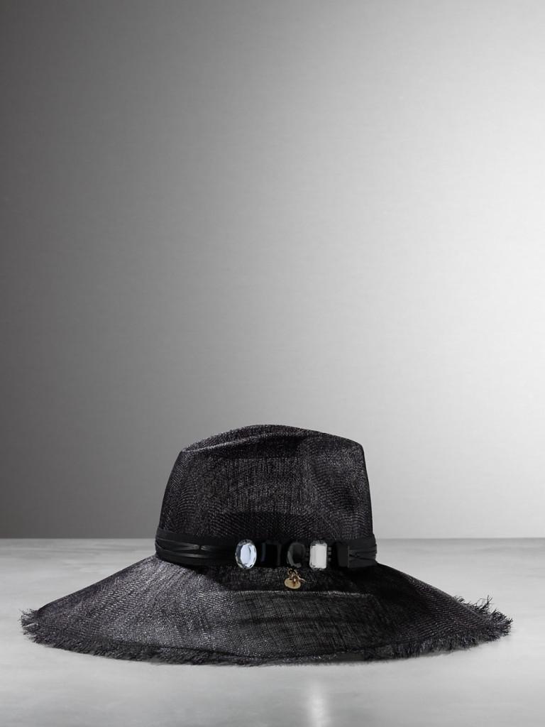 Cappello in paglia in fibra naturale con dettaglio gioiello panama_Patrizia Pepe