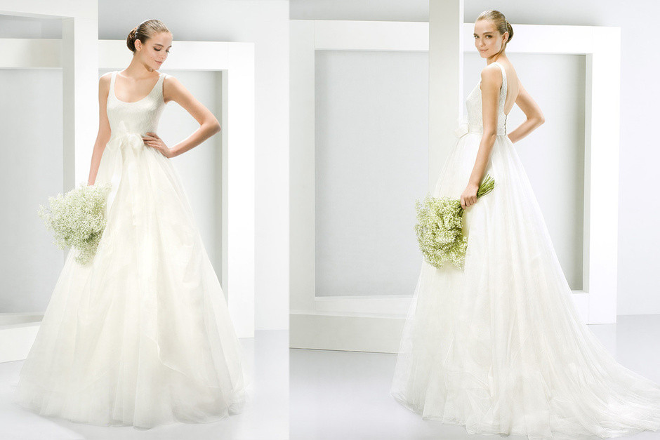 2 abiti da sposa bianco dritti con gonna ampia
