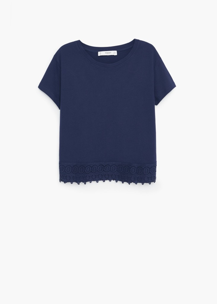 Maglietta con bordo crochet 14,99 euro da Mango