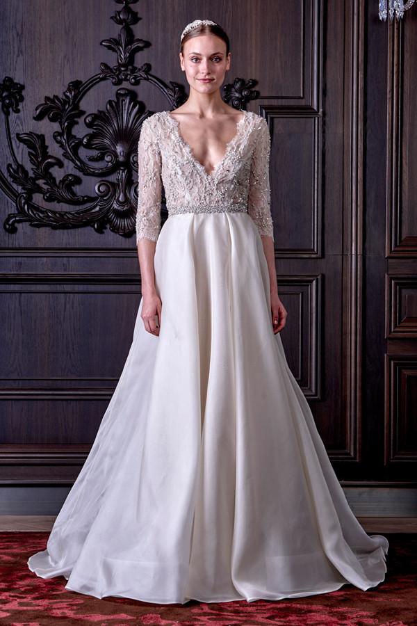 abiti sposa CADENCE in seta con maniche lunghe fino al polso