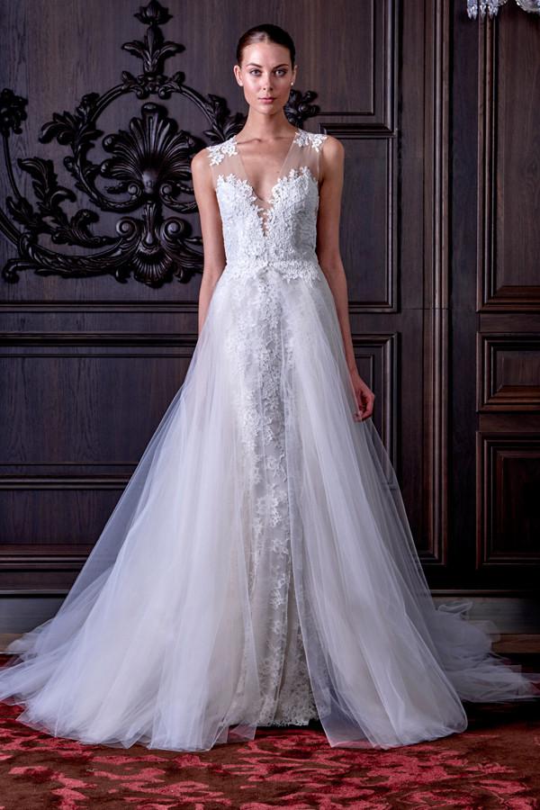 abiti sposa LAMOUR bianco  spallline in organza ricamata