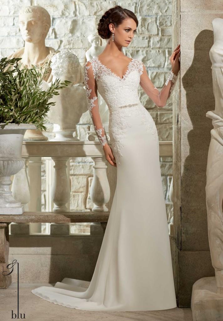 97c2984c0143 abito sposa bianco modello a sirena in chiffon e georgette
