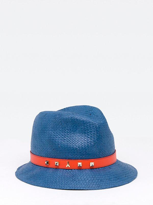 Cappello in paglia con dettaglio rosso modello panama_Patrizia Pepe