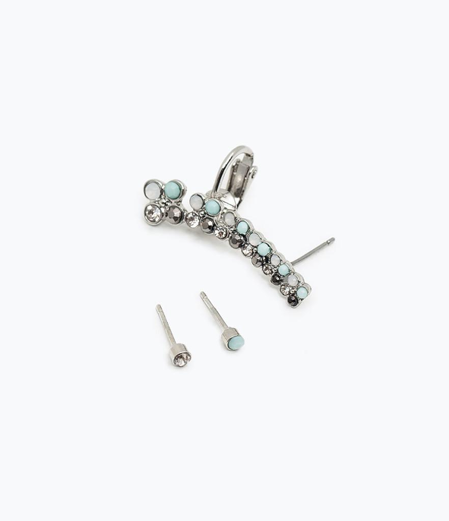 Earcuff con pietre in vetro azzurre 12,95 euro nuova collezione Zara