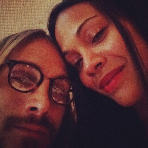 Zoe Saldana, qui con il marito italiano Marco Perego, è una fan del rossetto in colori intensi