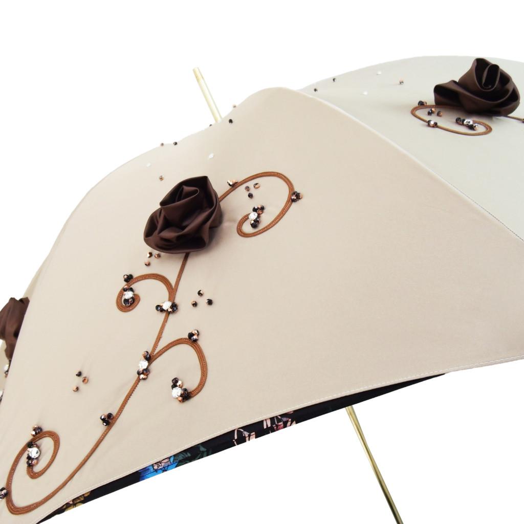 Ombrello di Lusso con rose applicate e disegni floreali.