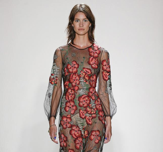 Jenny Packham abito trasparente con decori floreali