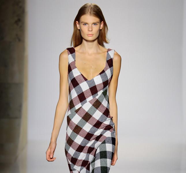 Victoria Beckham long dress in tartan