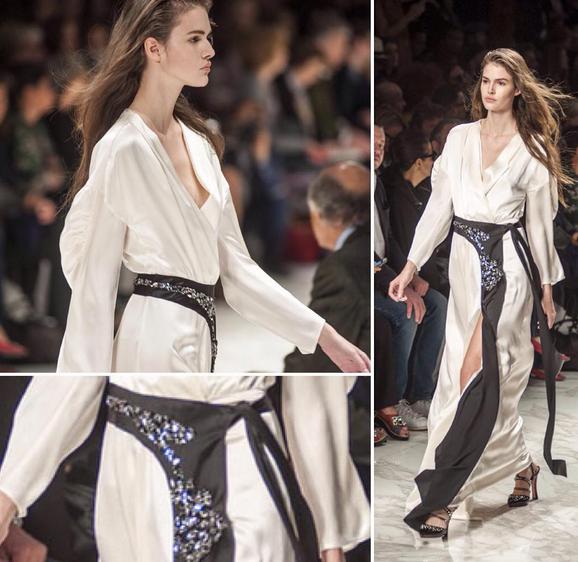 Blumarine abito kimono bianco e nero con strass