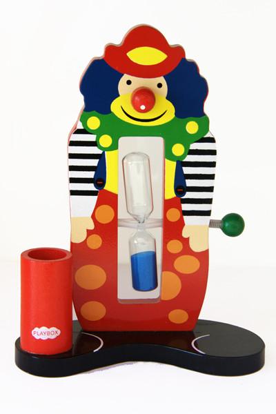 Porta spazzolino con clown in legno smilepoint dotato di clessidra che funge da timer per lo spazzolamento dei denti dei bambini.