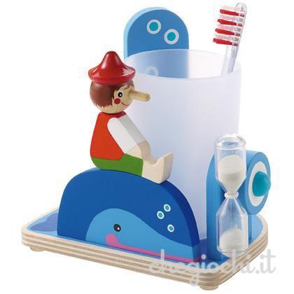 Porta spazzolino con Pinocchio in legno azzurro smilepoint dotato di clessidra che funge da timer per lo spazzolamento dei denti dei bambini.