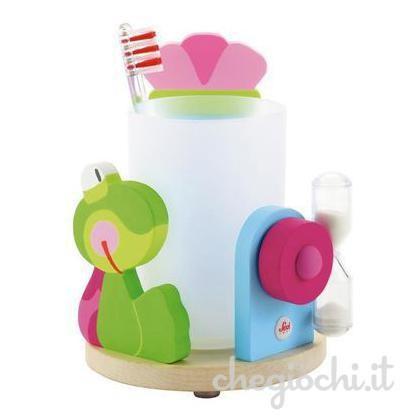 Porta spazzolino con rana in legno smilepoint dotato di clessidra che funge da timer per lo spazzolamento dei denti dei bambini.