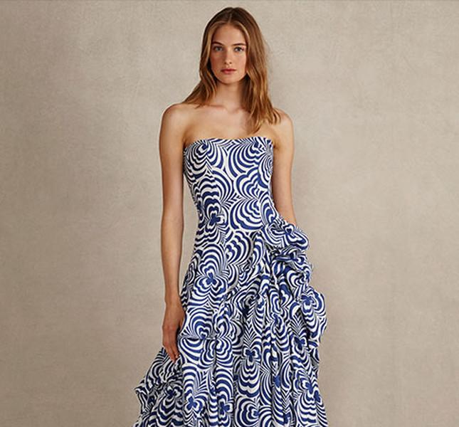 Ralph Lauren long dress con decori optical