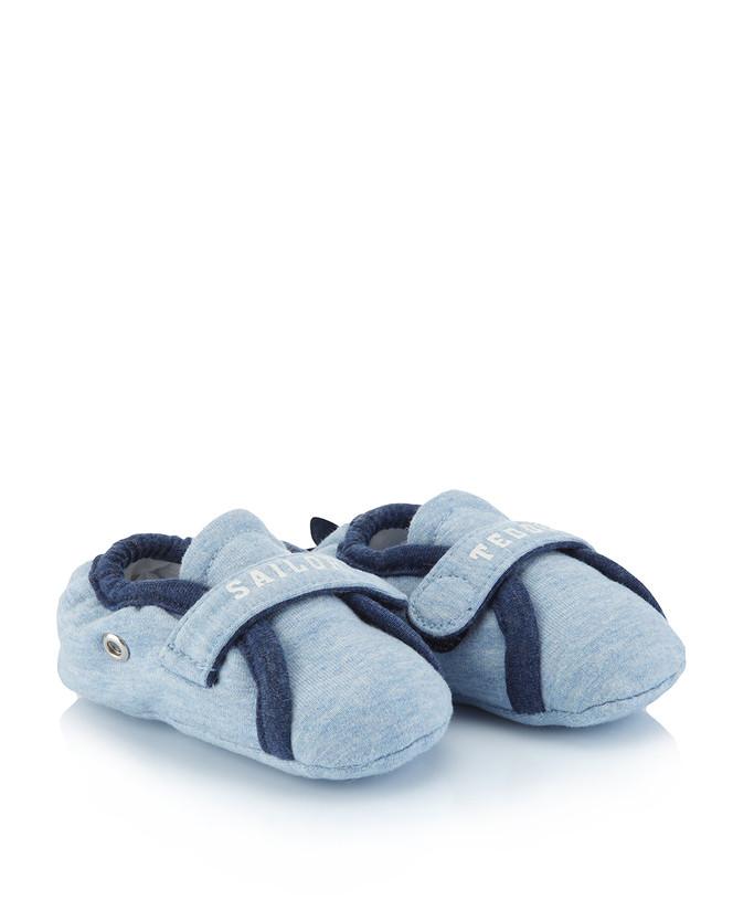 Prenatal. Pantofole azzurre in tessuto.
