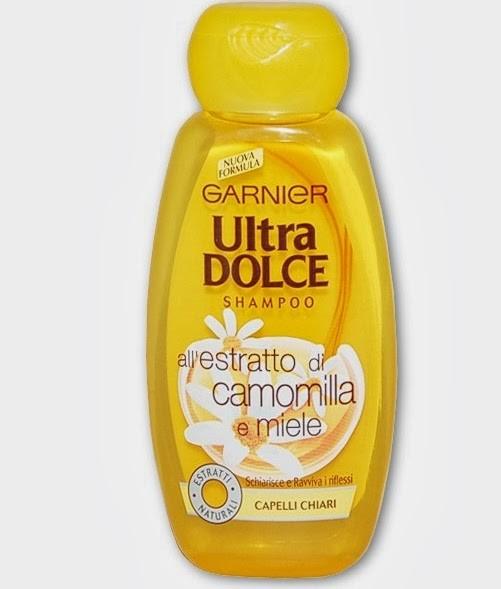 Shampo Ultradolce Garnièr camomilla e miele, adatto ai capelli chiari e per accentuare i riflessi biondi del capello
