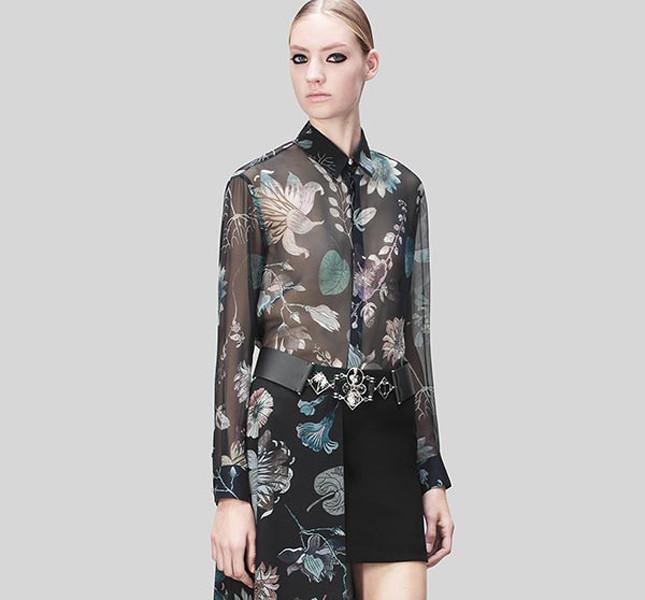 Versus Versace minigonna con camicia e strascico