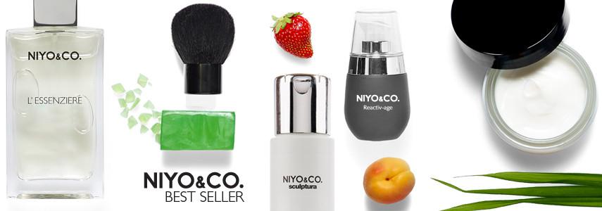 Tra i best seller NIYO&CO. c'è il siero perfezionatore per il viso ReactivAge, adatto a tutti i tipi di pelle; la linea per capelli Sculptura e la linea profumi L'Essenziere.