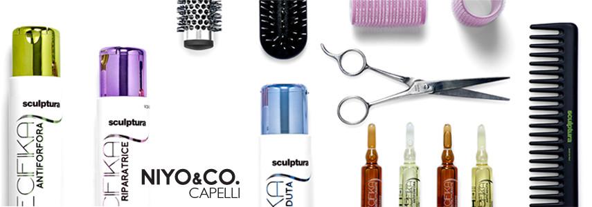 La linea NIYO&CO. capelli si compone di shampoo, maschere, prodotti per lo styling, trattamenti e tinte per tutte le esigenze.