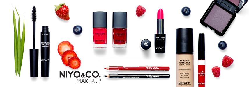 Nella categoria make-up di NYIO&CO. troviamo tantissime referenze: palette di ombretti per gli occhi,  fondotinta fluidi e compatti, ciprie, fard e terre per il viso; rossetti, gloss e matite per le labbra.