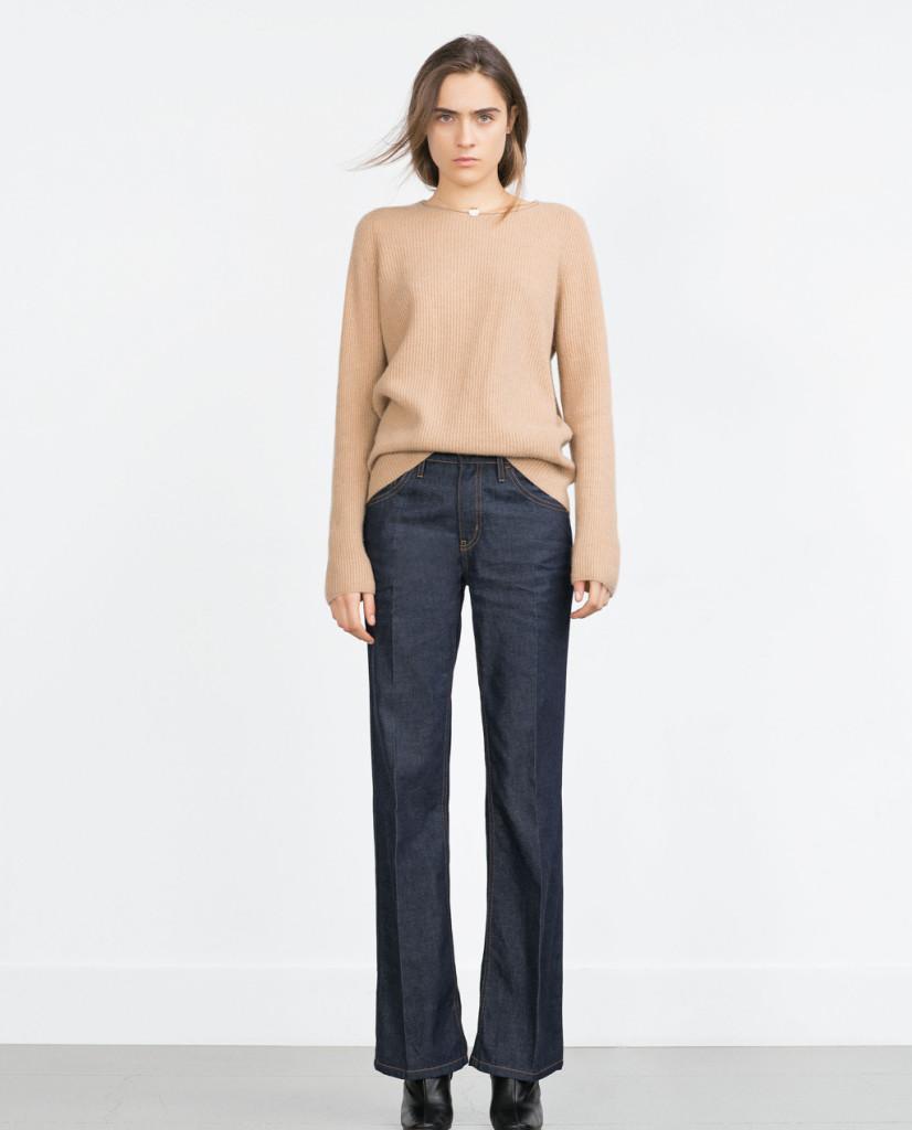 I jeans a vita alta con gamba larga di Zara sono perfetti per chi ha fianchi e cosce pronunciati