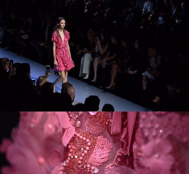 Elie Saab. Abito in pizzo rosa.