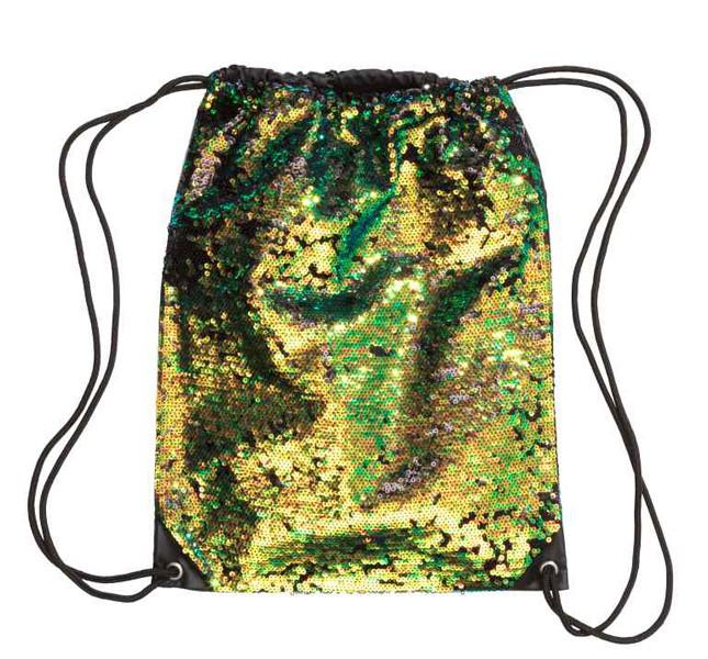 H&M, sacca in nylon con paillettes.