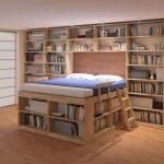 La parte sottostante di un letto soppalcato può trasformarsi in una romantica libreria.