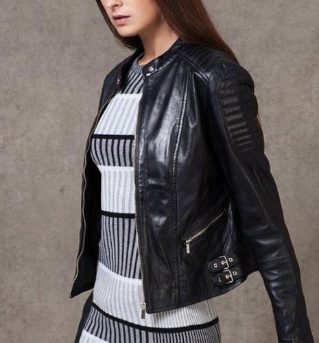 Stradivarius propone una giacca biker con collo alla coreana a 99,95 euro